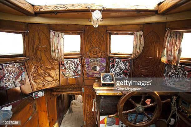 The interior of American sailor Reid Stowe's boat after 1152 days at sea at the helm of his handbuilt weathered wooden 70 foot schooner Anne an...