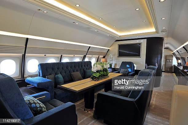 The interior of an Airbus corporate jet ACJ320 is seen during the 11th annual European Business Aviation Convention and Exhibition held at Geneva...