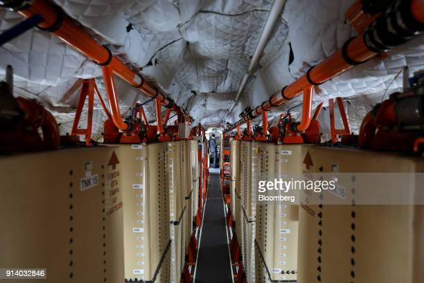 The interior of an Embraer SA E190 E2 passenger aircraft prototype is seen during a media preview day at the Singapore Airshow held at the Changi...