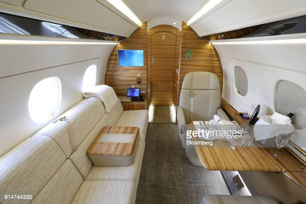 The interior of an Embraer SA Legacy 500 jet is seen during the Singapore Airshow held at the Changi Exhibition Centre in Singapore on Tuesday Feb 6...