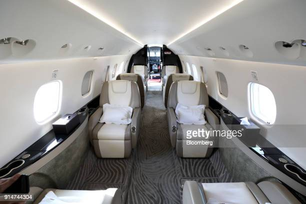 The interior of an Embraer SA Legacy 650E jet is seen during the Singapore Airshow held at the Changi Exhibition Centre in Singapore on Tuesday Feb 6...