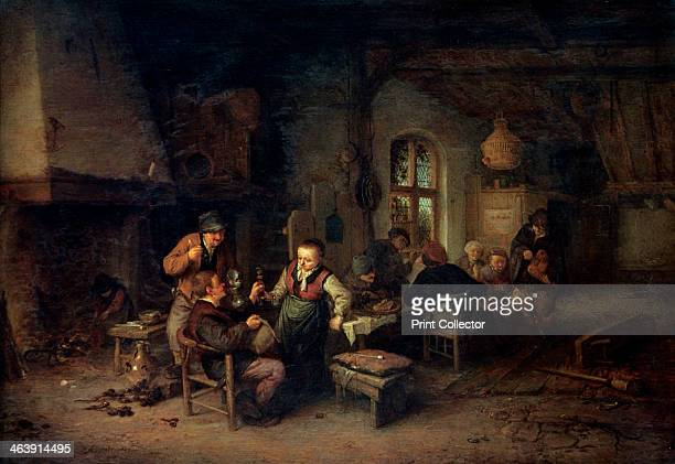 'The Interior of an Inn with Nine Peasants and a HurdyGurdy Player' 1653 The artist painted many tavern scenes of this type showing peasants drinking...