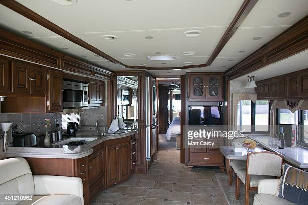 The interior of an RV is seen at the Pop-Up Hotel, which offers festival goers alternative luxury camping close to the Glastonbury Festival site -...