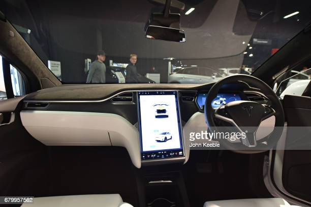 The interior of an Tesla all electric Model x on display at the London Motor Show at Battersea Evolution on May 4 2017 in London England 41...