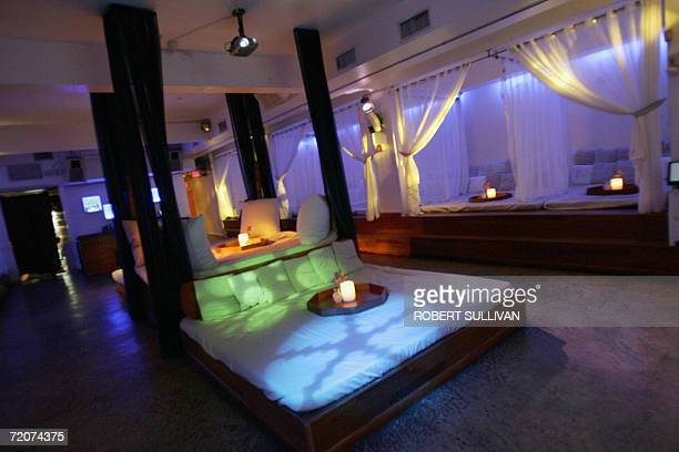The interior of BED is shown in a photo shot 27 September 2006 on Miami Beach Florida The club serves dinner and drinks to patrons in over sized beds...
