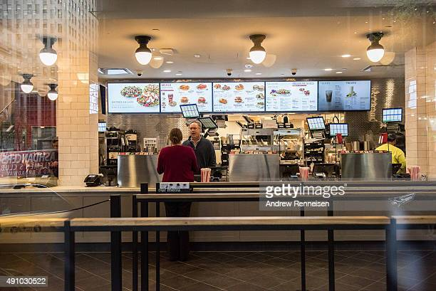 The interior of ChickFilA a day before its opening on 37th Street and 6th Avenue on October 2 2015 in New York City The fast food chicken restaurant...
