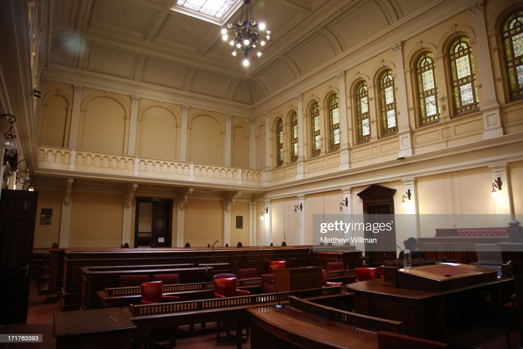 The interior of Courtroom C at the Palace of Justice in Pretoria, South Africa, 16th February 2011. This courtroom is where the historic Rivonia Trial of African National Congress (ANC) leaders took place in 1963-4 and where Nelson Mandela famously read out his, 'I am prepared to die,' speech.