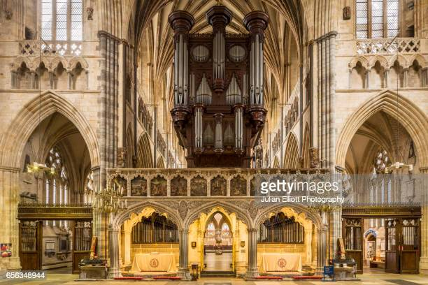 The interior of Exeter cathedral, UK.