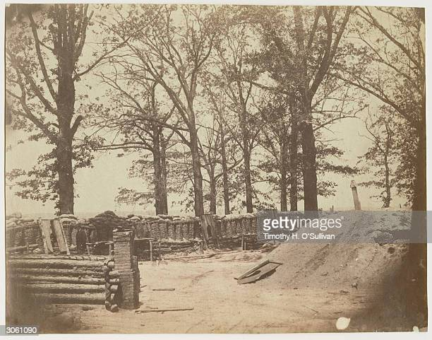 The interior of Fort Steadman Virginia two months after the battle in which Union forces successfully defended it against the Confederate army during...