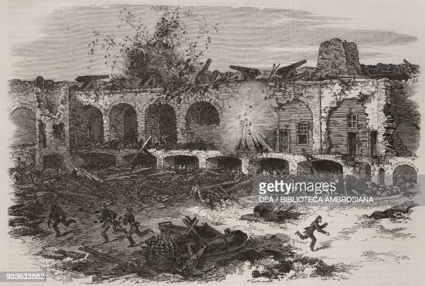 The interior of Fort Sumter Charleston after the bombardment by the Federal artillery United States of America American Civil War illustration from...