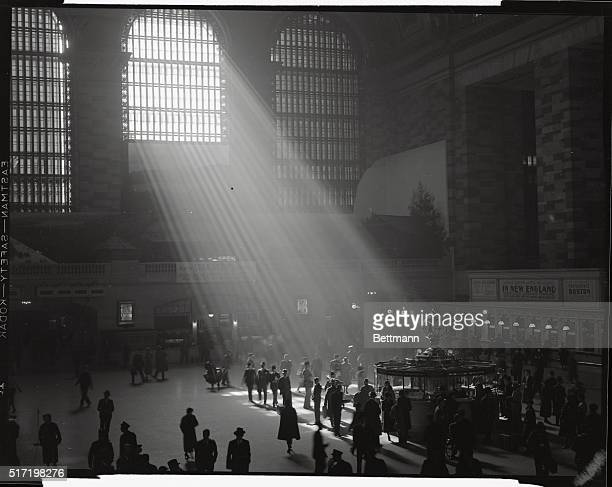 The interior of Grand Central Station is seen here, with the sun streaming in through the window.