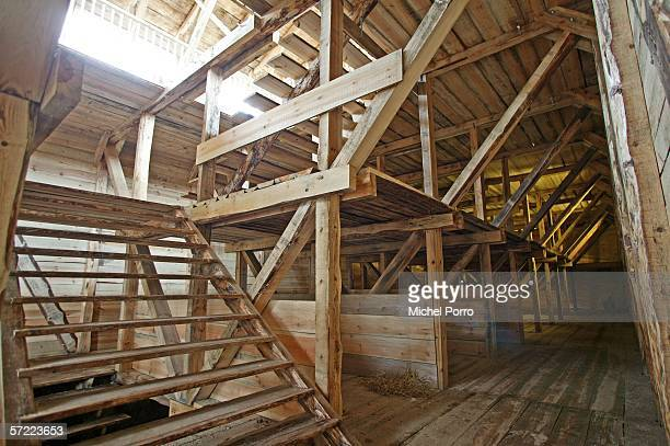 The interior of Johan Huibers' 70metrelong Noah's Ark replica constructed of steel and American cedar as it lies to be finished March 31 2005 in...
