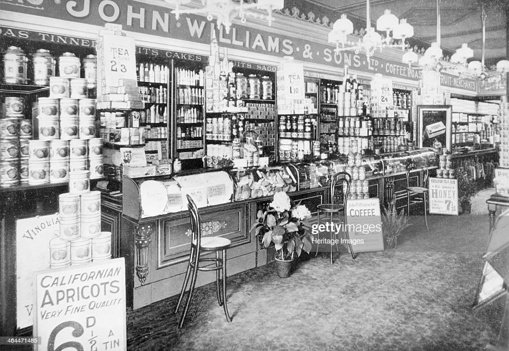The interior of John Williams & Sons Ltd grocery shop, (early 20th century?). : News Photo