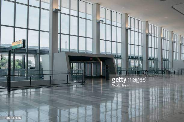 The interior of LaGuardia Airport's new Terminal B on June 10, 2020 in New York City. Citing LaGuardia Airport's old age and criticisms comparing it...