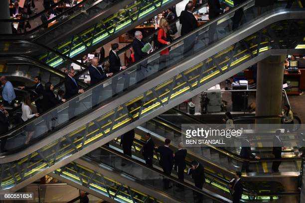 The interior of Lloyd's of London the centuriesold insurance market is pictured in the City of London on March 30 2017 Lloyd's of London will open a...