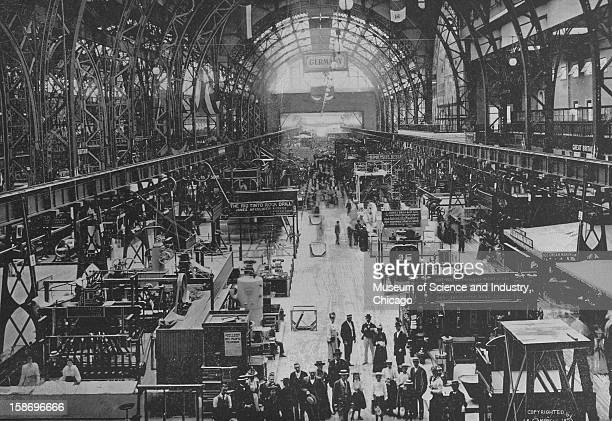 The interior of Machinery Hall looking west showing a section of the German exhibit at the World's Columbian Exposition in Chicago Illinois 1893 This...
