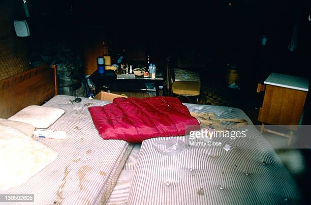 The interior of naturalist Dian Fossey's cabin at the Karisoke Mountain Gorilla Research Centre in Rwanda 1988 She was found murdered here in...