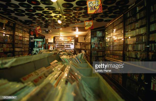 The interior of 'Rocks in My Head' music store with its extensive collection of vinyl records.