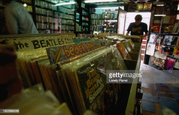 The interior of 'Rocks in Your Head' music store with its large collection of classic vinyl records.