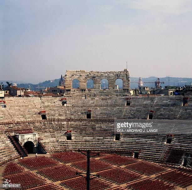 The interior of Roman amphitheatre Verona Arena 1st century AD Veneto Italy