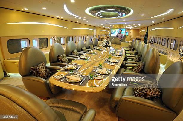 The interior of Saudi Prince Alwaleed bin Talal's private Boeing 747 airplane in Riyadh Saudi Arabia on Tuesday April 27 2010 Alwaleed said he will...