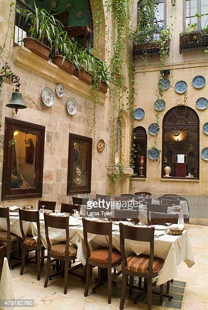 The interior of Sissi House a storied hotel burned down during the Syrian civil war in Aleppo in 2012 This 17th century house named after the...