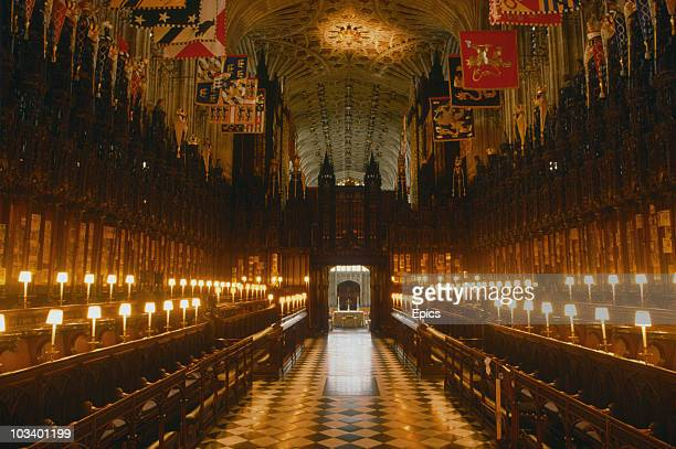 The interior of St George's chapel, Windsor Castle, Berkshire, circa 1990. The chapel has been the site of many royal weddings.
