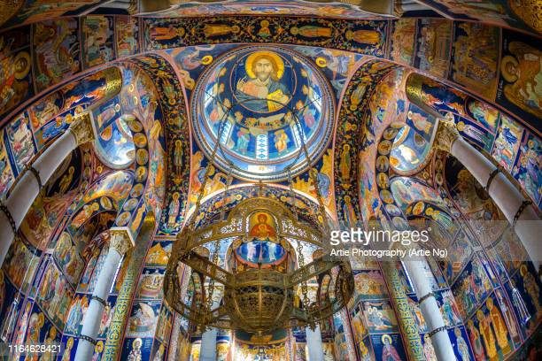 the interior of st george's church, oplenac hill, topola, serbia - mausoleum stock pictures, royalty-free photos & images