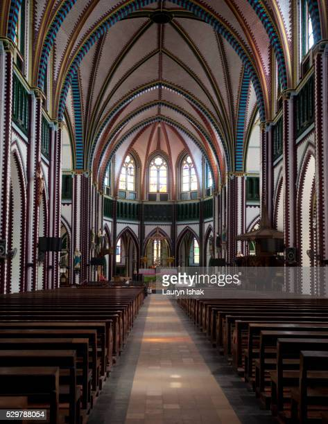 the interior of st. mary's cathedral, yangon, myanmar - lauryn ishak stock pictures, royalty-free photos & images