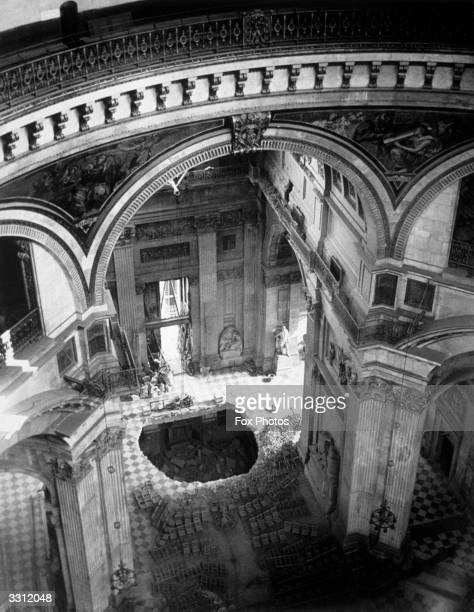 The interior of St Paul's Cathedral London after suffering bomb damage