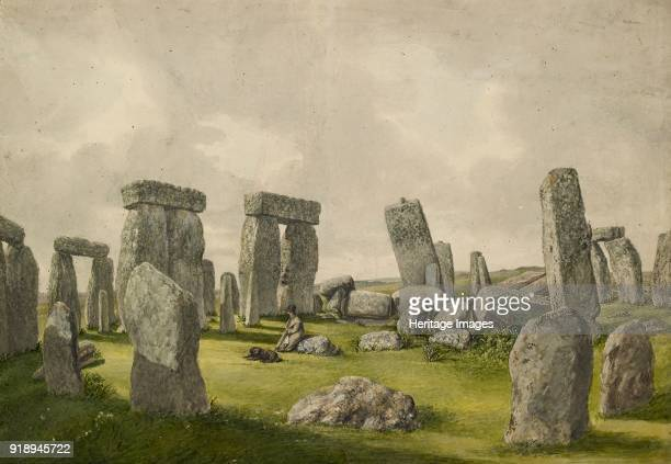 The Interior of Stonehenge in its present state showing interior of stones man and dog 18241839