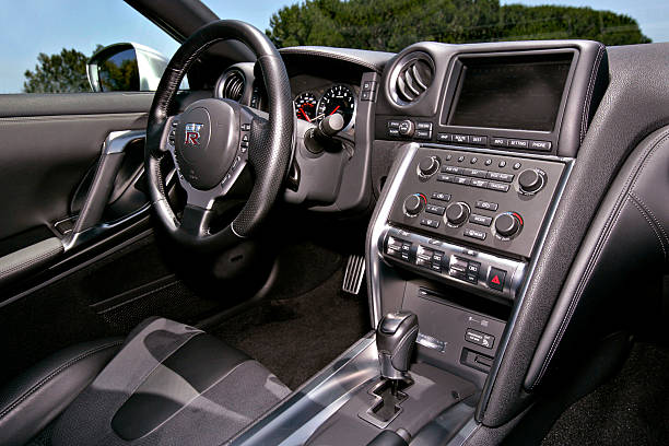 The interior of the 2009 Nissan GTR is photographed in front ...