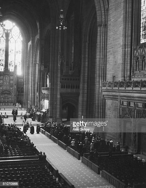 The interior of the Anglican cathedral in Liverpool designed by Sir Giles Gilbert Scott June 1955 Original Publication Picture Post 7795 Vision Of A...