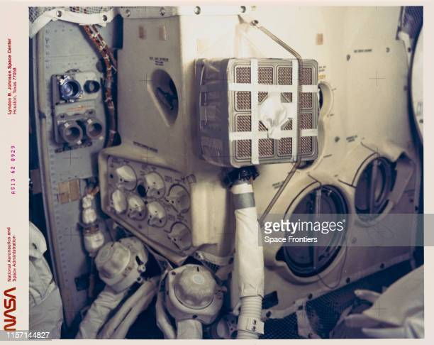 The interior of the Apollo 13 Lunar Module showing the 'mail box' which the Apollo 13 astronauts juryrigged to use the Command Module lithium...