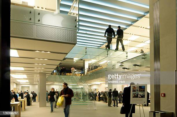 the interior of the apple store on regent street, london. - apple computers stock pictures, royalty-free photos & images