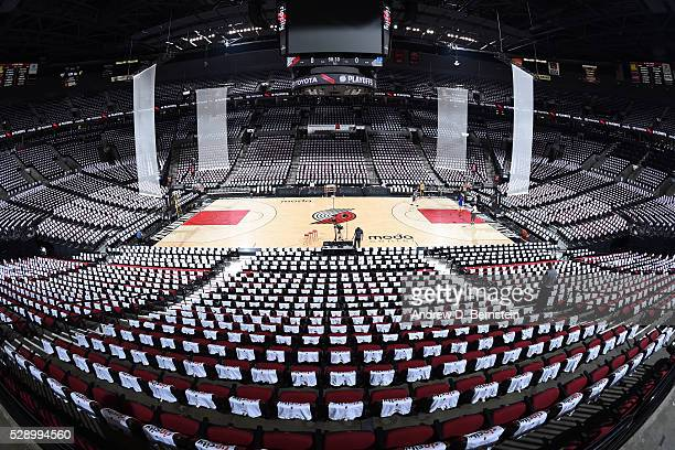 The interior of the arena before the game between the Portland Trail Blazers and the Golden State Warriors in Game Three of the Western Conference...