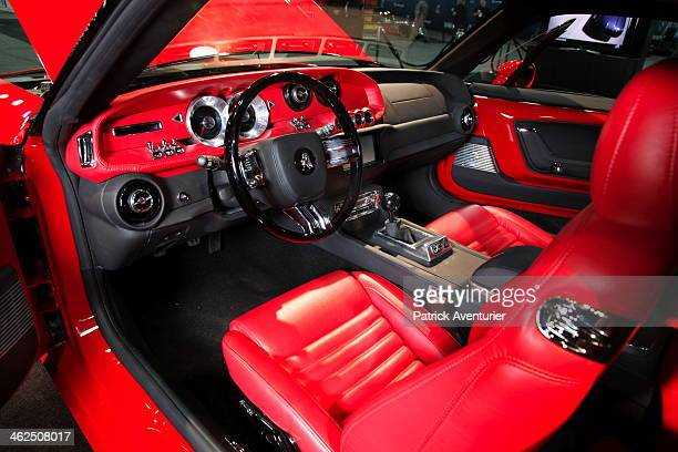 The interior of the Bass770 a new luxury car from the Michiganbased new American manufacturer Equus Automotive is displayed at the 2014 North...