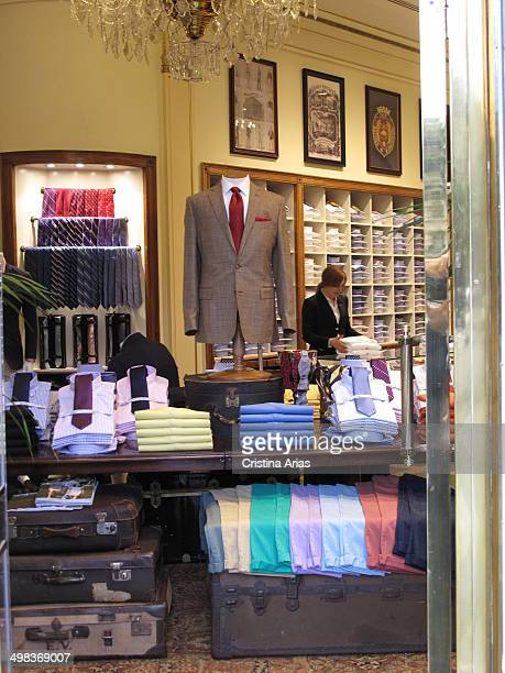 The interior of the Brooks Brothers store in Serrano street in the Salamnca District of Madrid, Spain, April 2914. This is the oldest men's clothier...