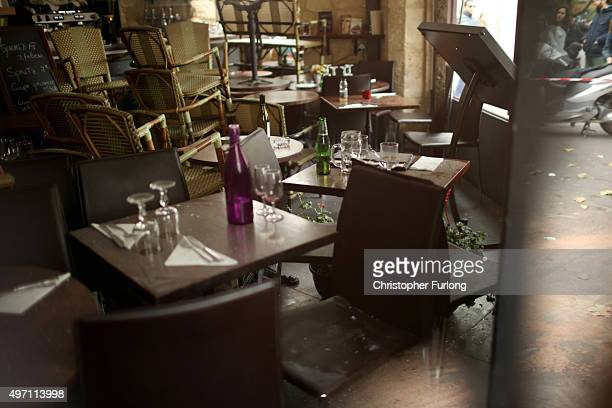 The interior of the Casa Nostra Cafe after yesterday's terror attack on November 14 2015 in Paris France At least 120 people have been killed and...