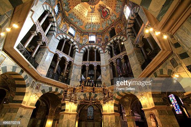 the interior of the cathedral of aachen - aachen stock pictures, royalty-free photos & images