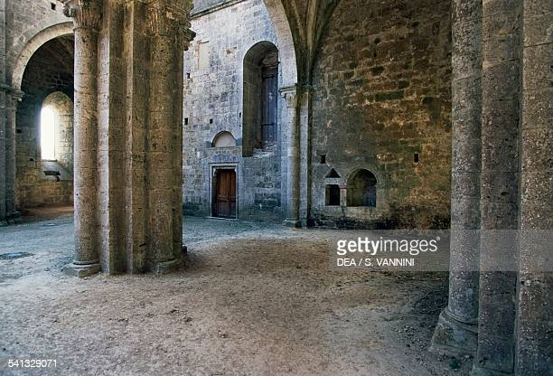 The interior of the Cistercian Abbey of San Galgano GothicCistercian style Chiusdino Tuscany Italy
