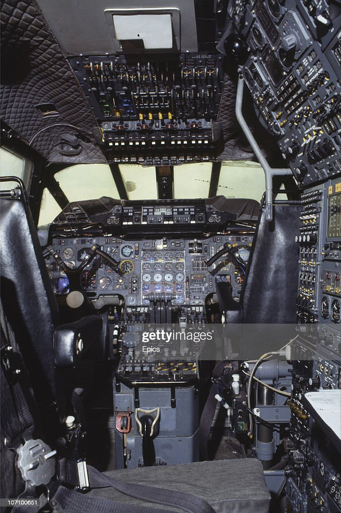 The Interior Of The Cockpit Of A Concorde Supersonic Airliner Which Is On  Display At Duxford