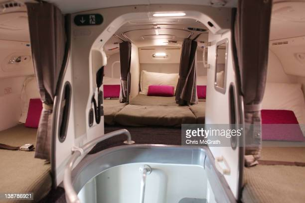 The interior of the crew sleeping quarters on the Boeing 787 Dreamliner is seen during a media tour on February 12 2012 in Singapore The 787...