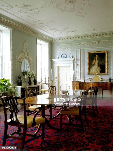 the interior of the dining room at wallington, northumberland - モーペス ストックフォトと画像