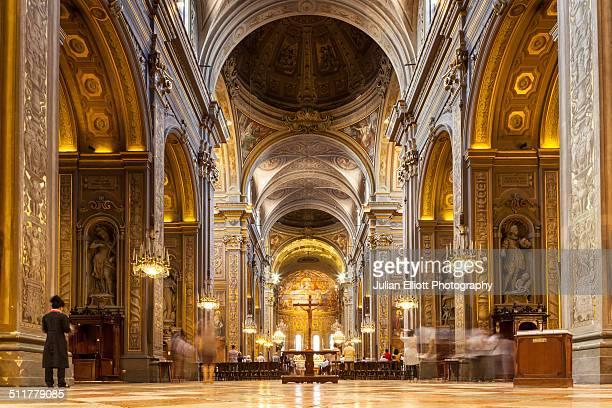 the interior of the duomo di ferrara - ferrara stock pictures, royalty-free photos & images