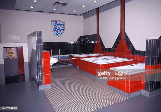 LONDON ENGLAND The interior of the England Football Team changing room baths at Wembley Stadium in London circa 1990