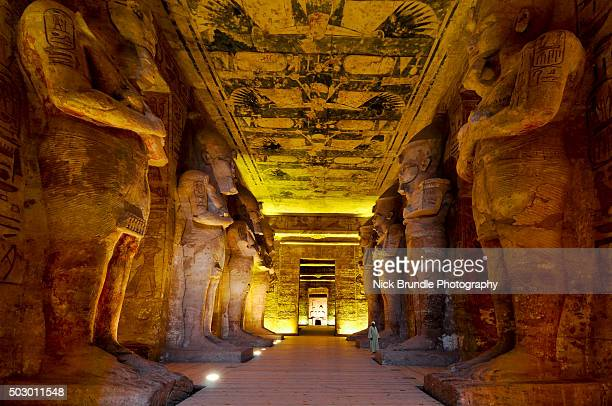 the interior of the great temple of ramesses ii, abu simbel, egypt. - tomb stock pictures, royalty-free photos & images