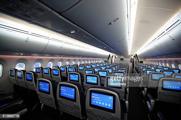 The interior of the Grupo Aeromexico SAB Quetzalcoatl Boeing 7879 dreamliner is seen during a press conference at the company's hangar inside Benito...