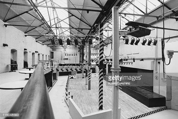The interior of The Hacienda nightclub in Manchester designed by Ben Kelly circa 1985