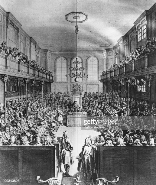 The interior of the House of Commons London 1742 Arthur Onslow Speaker of the House of Commons is in the chair and Robert Walpole the first Prime...